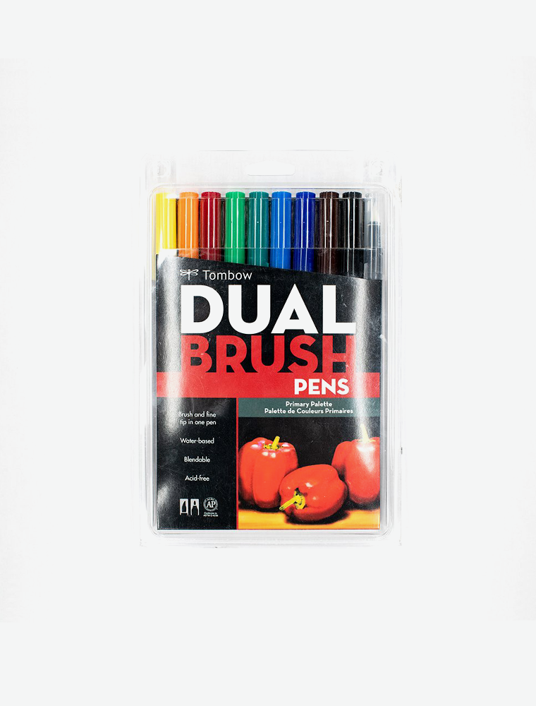 DUAL BRUSH PEN ART MARKERS, PRIMARY