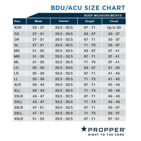 propper bdu and acu size chart
