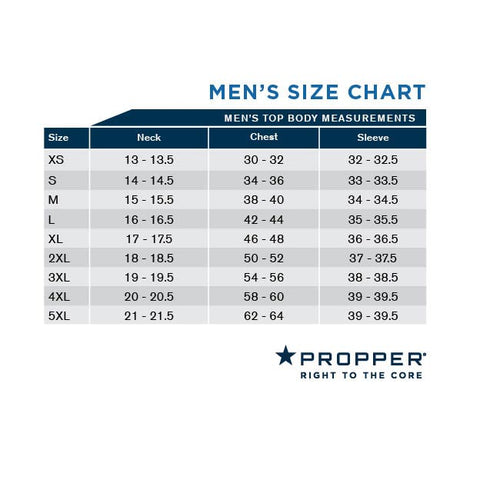 propper mens shirt size chart