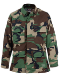 TRU SPEC COTTON RIPSTOP CLASSIC BDU COAT WOODLAND CAMO LARGE SHORT