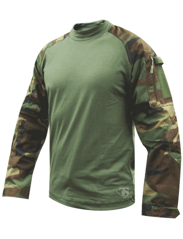 TRU-SPEC TACTICAL RESPONSE COMBAT SHIRT CORDURA RIPSTOP SLEEVES WOODLAND CAMO 2XL LONG