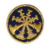 "HERO'S PRIDE  4 BUGLES  PATCH 1"" CIRCLE MET. GOLD ON DK NAVY  SEW ON"