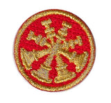 "HERO'S PRIDE  4 BUGLES  PATCH 1"" CIRCLE MET. GOLD ON RED  SEW ON"