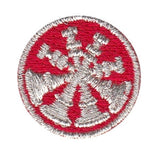 "HERO'S PRIDE  4 BUGLES  PATCH 1"" CIRCLE MET. SILVER ON RED  SEW ON"
