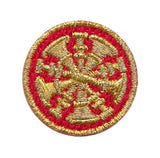"HERO'S PRIDE  5 BUGLES  PATCH 1"" CIRCLE MET. GOLD ON RED  SEW ON"
