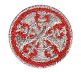 "HERO'S PRIDE  5 BUGLES  PATCH 1"" CIRCLE MET. SILVER ON RED  SEW ON"