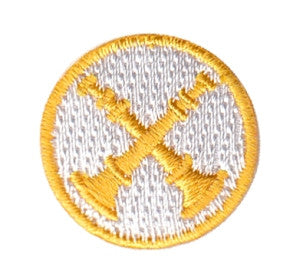 "HERO'S PRIDE  2 BUGLES (CROSSED)  PATCH 1"" CIRCLE GOLD ON WHITE  SEW ON"
