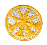 "HERO'S PRIDE  4 BUGLES  PATCH 1"" CIRCLE GOLD ON WHITE  SEW ON"