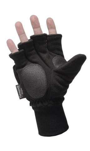 HWI GEAR 3/4 FINGER FLEECE KNIT GLOVE/MITTEN BLACK XL