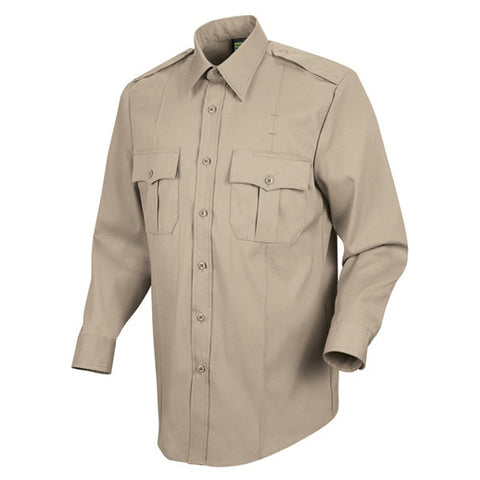 HORACE SMALL NEW DIMENSION POPLIN LS SHIRT SILVER TAN