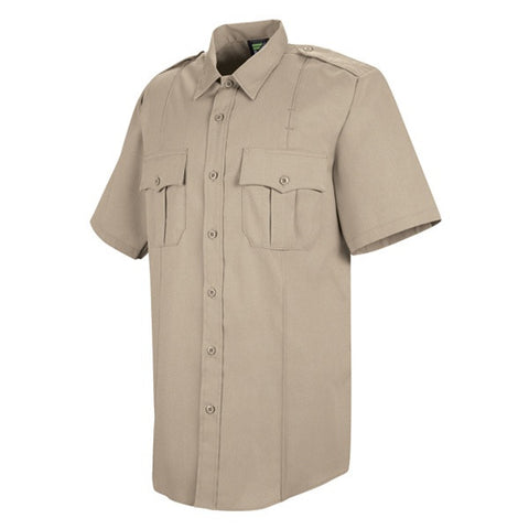 HORACE SMALL NEW DIMENSION POPLIN SS SHIRT SILVER TAN