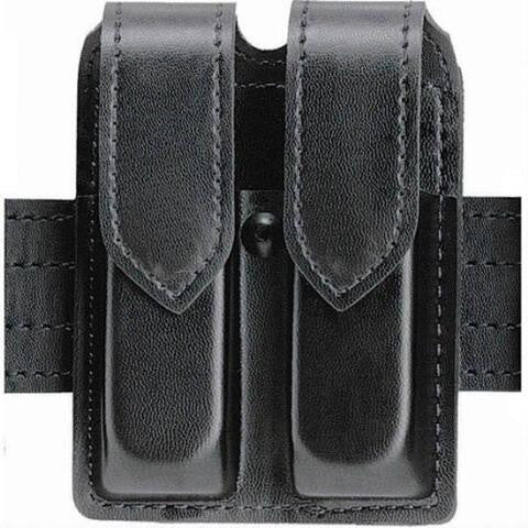 SAFARILAND 77 DOUBLE MAGAZINE POUCH STX PLAIN BLACK HIDDEN SNAP SINGLE STACKED 9MM MAGAZINES (BROWNING BDM 9MM)