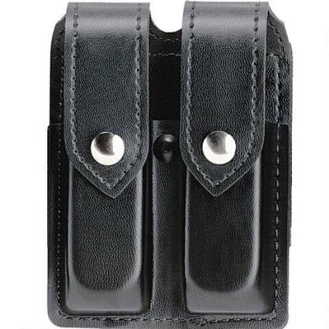SAFARILAND MODEL 77 DOUBLE MAGAZINE POUCH, LEATHER LOOK, PLAIN