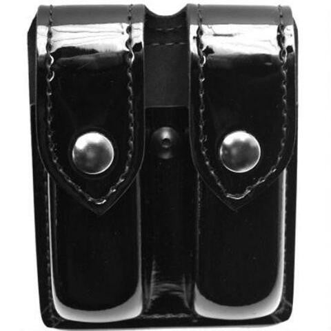 SAFARILAND MODEL 77 DOUBLE MAGAZINE POUCH, LEATHER LOOK, HI-GLOSS-T-Box Tactical