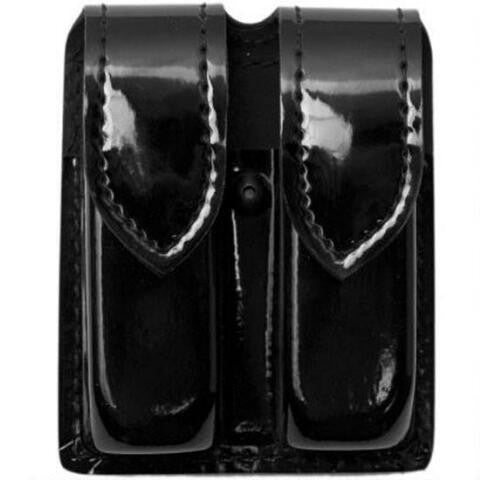 SAFARILAND 77 DOUBLE MAGAZINE POUCH STX HI-GLOSS BLACK HIDDEN SNAP SINGLE STACKED 9MM MAGAZINES (BROWNING BDM 9MM)