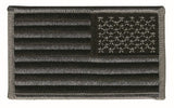 U.S. FLAG SEW ON - REVERSE - 3-3/8 X 2 SILVER/BLACK