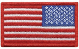 U.S. FLAG SEW ON - REVERSE- 3-3/8 X 2 FULL COLOR RED