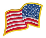U.S. FLAG SEW ON - WAVY - REVERSED - 3-1/4 X 2-1/4 FULL COLOR MEDUIM GOLD