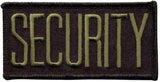 "HERO'S PRIDE SECURITY  CHEST PATCH 4 X 2""  OLIVE DRAB ON BLACK  W/HOOK"