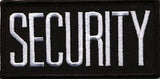 "HERO'S PRIDE SECURITY  CHEST PATCH 4 X 2""  WHITE ON BLACK  W/HOOK"