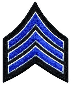 "HERO'S PRIDE  SGT PATCH PAIR  3"" W/MERROWED BORDER ROYAL W/WHITE EDGE ON BLACK SEW ON"