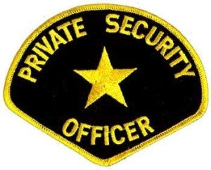 HERO'S PRIDE PRIVATE SECURITY OFFICER  PATCH4 3/4 X 3 3/4 MED GOLD/BLACK  SEW ON