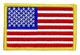 U.S. FLAG SEW ON - 3-1/2 X 2-1/4 FULL COLOR MEDUIM GOLD