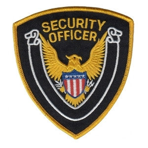 "HERO'S PRIDE SECURITY OFFICER  PATCH 4 X 4"" GOLD BORDER/BLACK TWILL  SEW ON"