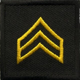 HERO'S PRIDE  SGT PATCH PAIR 1 1/2 X 1 1/2 MED. GOLD ON BLACK  SEW ON