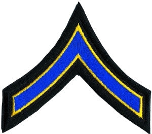 "HERO'S PRIDE  PFC PATCH PAIR 3 1/2""  ROYAL W/MED GOLD EDGE ON BLACK SEW ON"