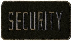 "HERO'S PRIDE SECURITY  BACK PATCH  9 X 5"" GREY ON BLACK  SEW ON"