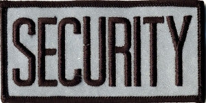 "HERO'S PRIDE SECURITY  CHEST PATCH 4 X 2""  BLACK ON REFLECTIVE GREY  W/HOOK"