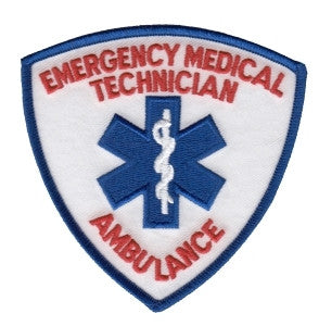 HERO'S PRIDE EMERGENCY MEDICAL TECHNICIAN W/AMBULANCE IN RED  PATCH3 9/16 X 3 9/16 FULL COLOR SEW ON