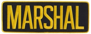 "HERO'S PRIDE MARSHAL BACK  BACK PATCH  11 X 4"" MED GOLD ON BLACK  W/HOOK"