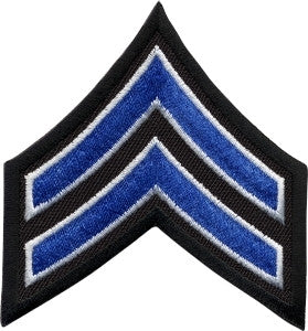 "HERO'S PRIDE  CPL PATCH PAIR  3""  ROYAL W/WHITE EDGE ON BLACK SEW ON"