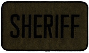 "HERO'S PRIDE SHERIFF  PATCH 9 X 5"" BLACK ON O.D. TWILL  SEW ON"