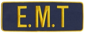 "HERO'S PRIDE E. M. T.   BACK PATCH  11 X 4"" MED GOLD ON NAVY  W/HOOK"