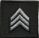HERO'S PRIDE  SGT PATCH PAIR 1 1/2 X 1 1/2 SILVER ON BLACK  SEW ON