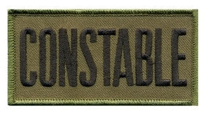 "HERO'S PRIDE CONSTABLE  CHEST PATCH 4 X 2""  BLACK ON O.D.  SEW ON"