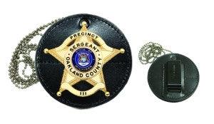 HERO'S PRIDE LEATHER CLIP-ON BADGE CASE (ROUND CIRCLE) - RECESSED FOR 5 POINT STAR/BALLS W/BANNER