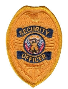 HERO'S PRIDE SECURITY OFFICER  PATCH2 3/8 X 3 1/2 GOLD/NAVY BADGE  SEW ON