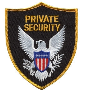 HERO'S PRIDE PRIVATE SECURITY  PATCH GOLD BORDER SEW ON