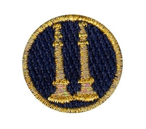 "HERO'S PRIDE  2 BUGLES (NOT CROSSED)  PATCH 1"" CIRCLE MET. GOLD ON DK NAVY  SEW ON"