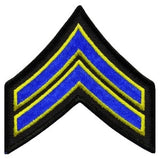 "HERO'S PRIDE  CPL PATCH PAIR 3 1/2""  W/MERROWED BORDER  ROYAL W/MED GOLD EDGE ON BLACK SEW ON"
