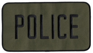 "HERO'S PRIDE POLICE  BACK PATCH  9 X 5"" BLACK ON O.D.  W/HOOK"