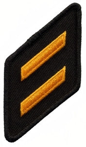HERO'S PRIDE TWO HASHMARK TWILL/OVERLOCK  PATCH DARK GOLD ON BLACK SEW ON
