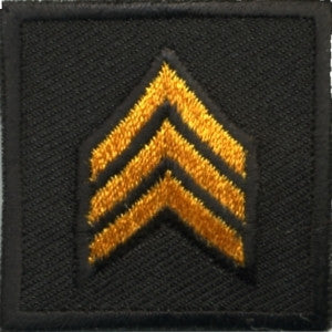 HERO'S PRIDE  SGT PATCH PAIR 1 1/2 X 1 1/2 DK GOLD ON BLACK  SEW ON