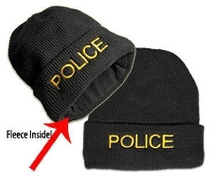 "HERO'S PRIDE FLEECE WATCH CAP - ""POLICE"" - MED GOLD ON BLACK"