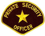 HERO'S PRIDE PRIVATE SECURITY OFFICER  PATCH4 3/4 X 3 3/4 MED GOLD/BROWN  SEW ON