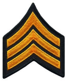 "HERO'S PRIDE  SGT PATCH PAIR  3"" W/MERROWED BORDER SUMMER GOLD ON BLACK SEW ON"